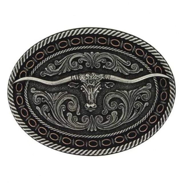 Two Tone Antiqued Round Barbed Longhorn Attitude Buckle
